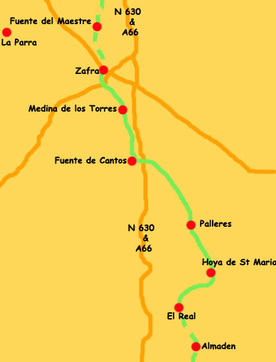 Map El Real to Zafra