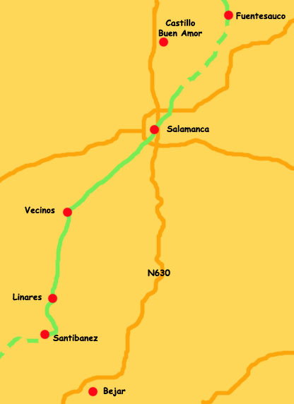 Map Bejar to salamanca